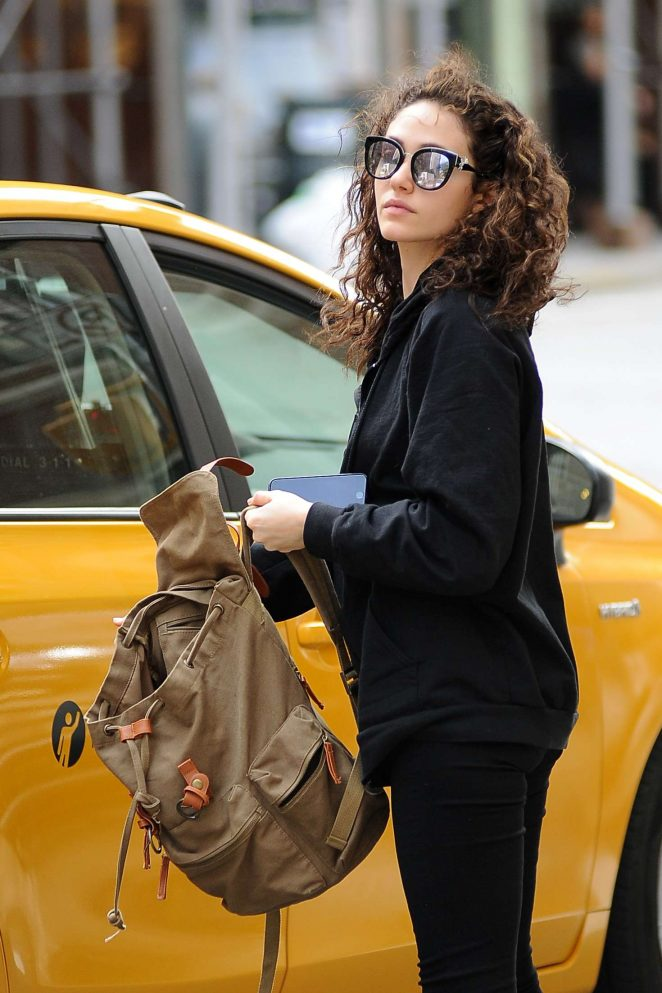Emmy Rossum Leaving a Cab in New York