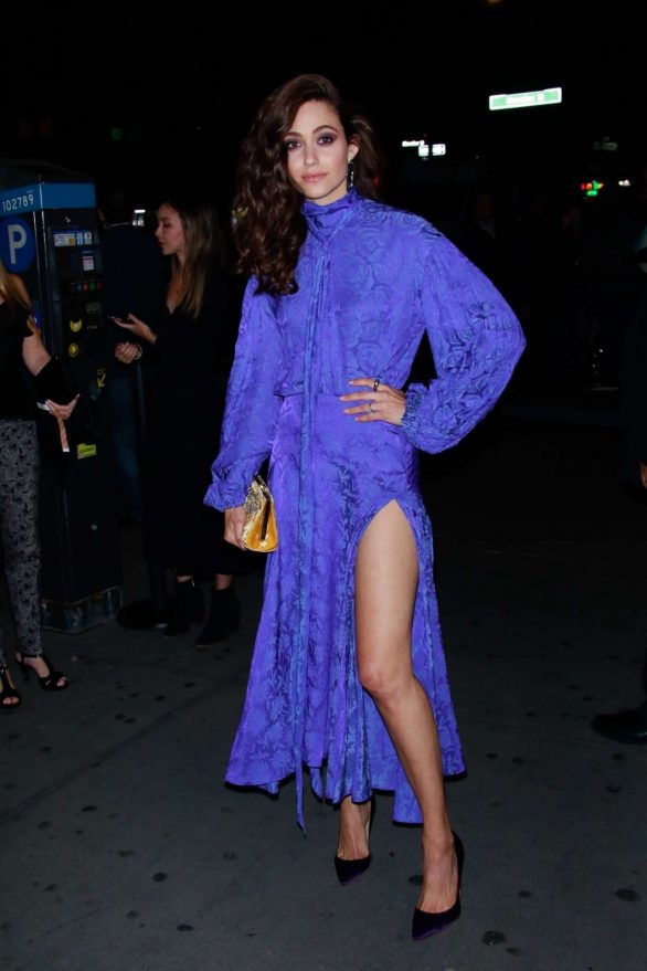 Emmy Rossum - Looking stylich in long dress at 'Museum Of Modern Love' Pop Up Event in NYC