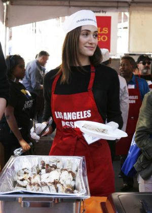 Emmy Rossum - Los Angeles Mission Thanksgiving Meal for the homeless in LA