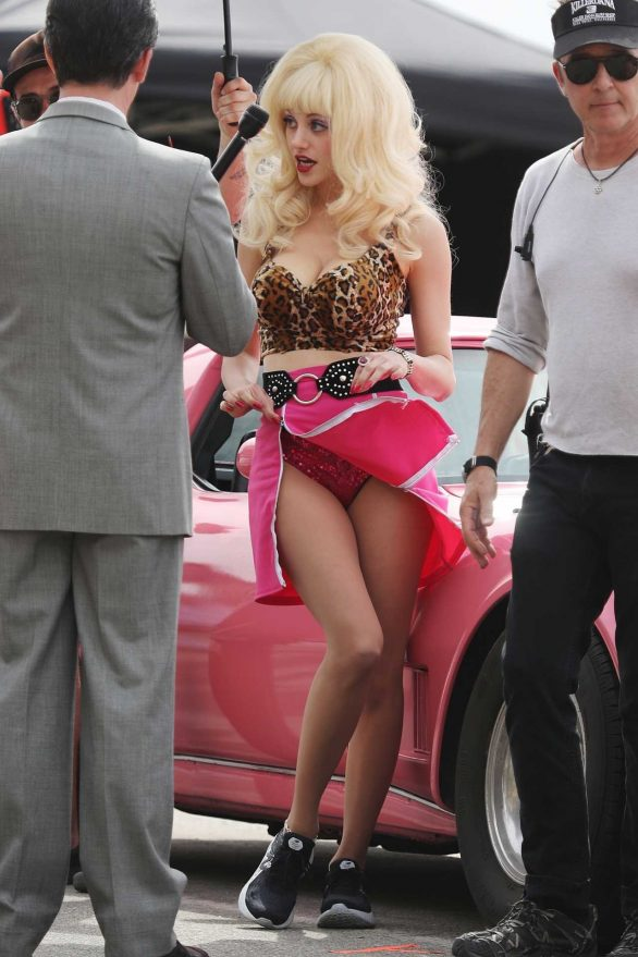 Emmy Rossum - On set of Angelyne in Malibu