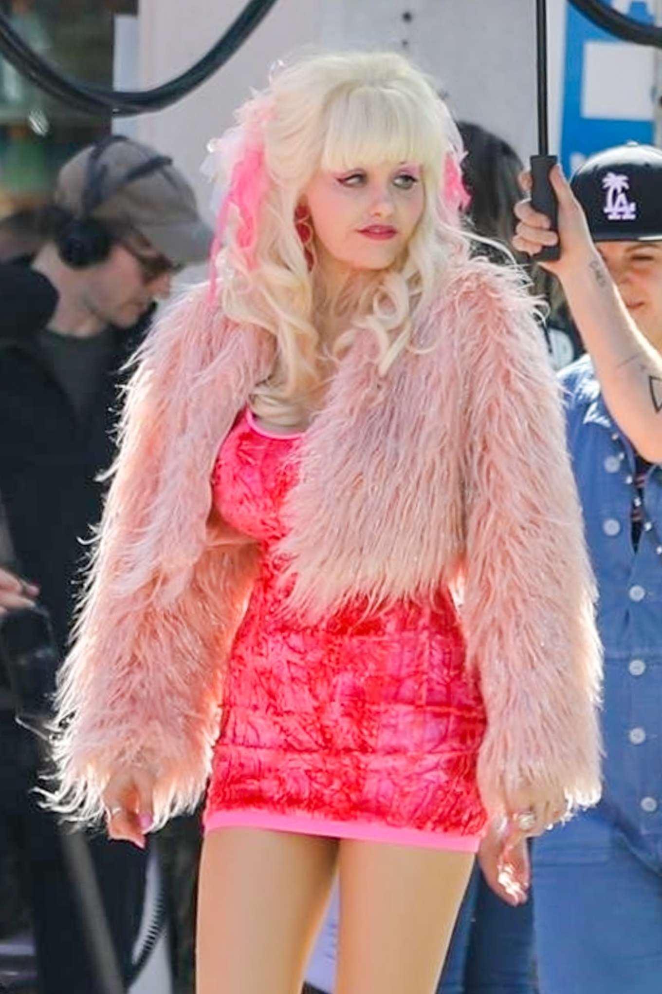 Emmy Rossum - On the 'Angelyne' set in Los Angeles