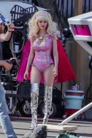 Emmy Rossum - On the set of 'Angelyne' in Los Angeles