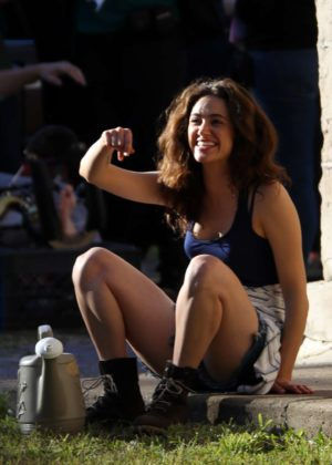 Emmy Rossum on the set of 'Shameless' in Chicago