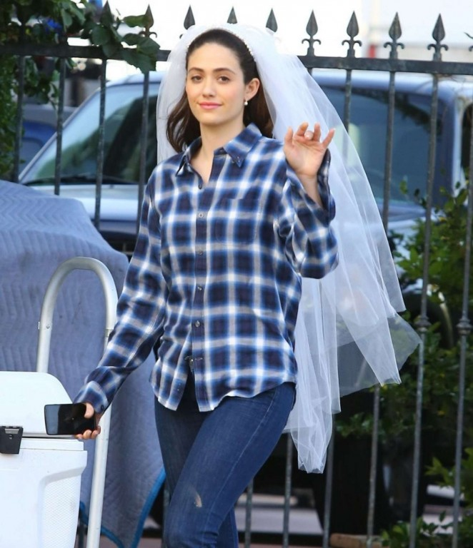 Emmy Rossum on the set of 'Shameless' in Los Angeles
