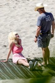 Emmy Rossum - Seen on the beach in Malibu while films scenes as the iconic Angelyne