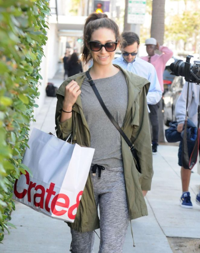 Emmy Rossum Shopping at Crate and Barrel in Beverly Hills
