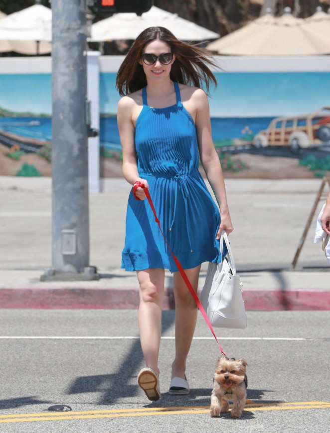 Emmy Rossum in Blue Mini Dress Walking Her Dog in Malibu