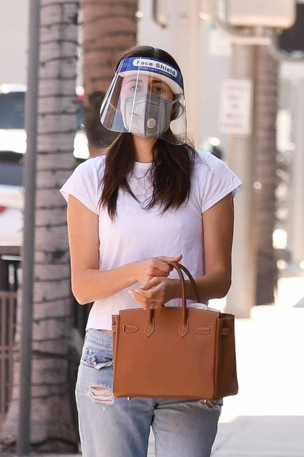 Emmy Rossum - Wearing a mask and a face shield as she heads to a doctors office in Beverly Hills
