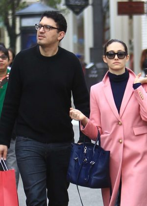 Emmy Rossum with her boyfriend out shopping in Los Angeles