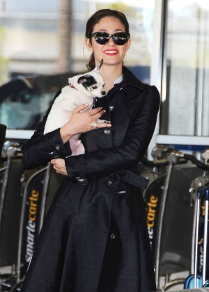 Emmy Rossum with her dog at LAX airport in LA