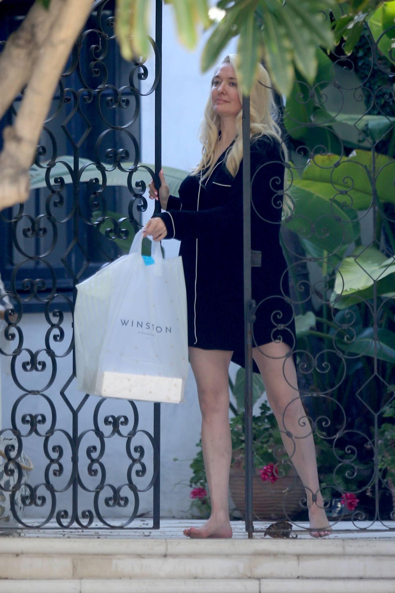 Erika Jayne 2021 : Erika Jayne – In a short nightshirt at her house in Los Angeles-07