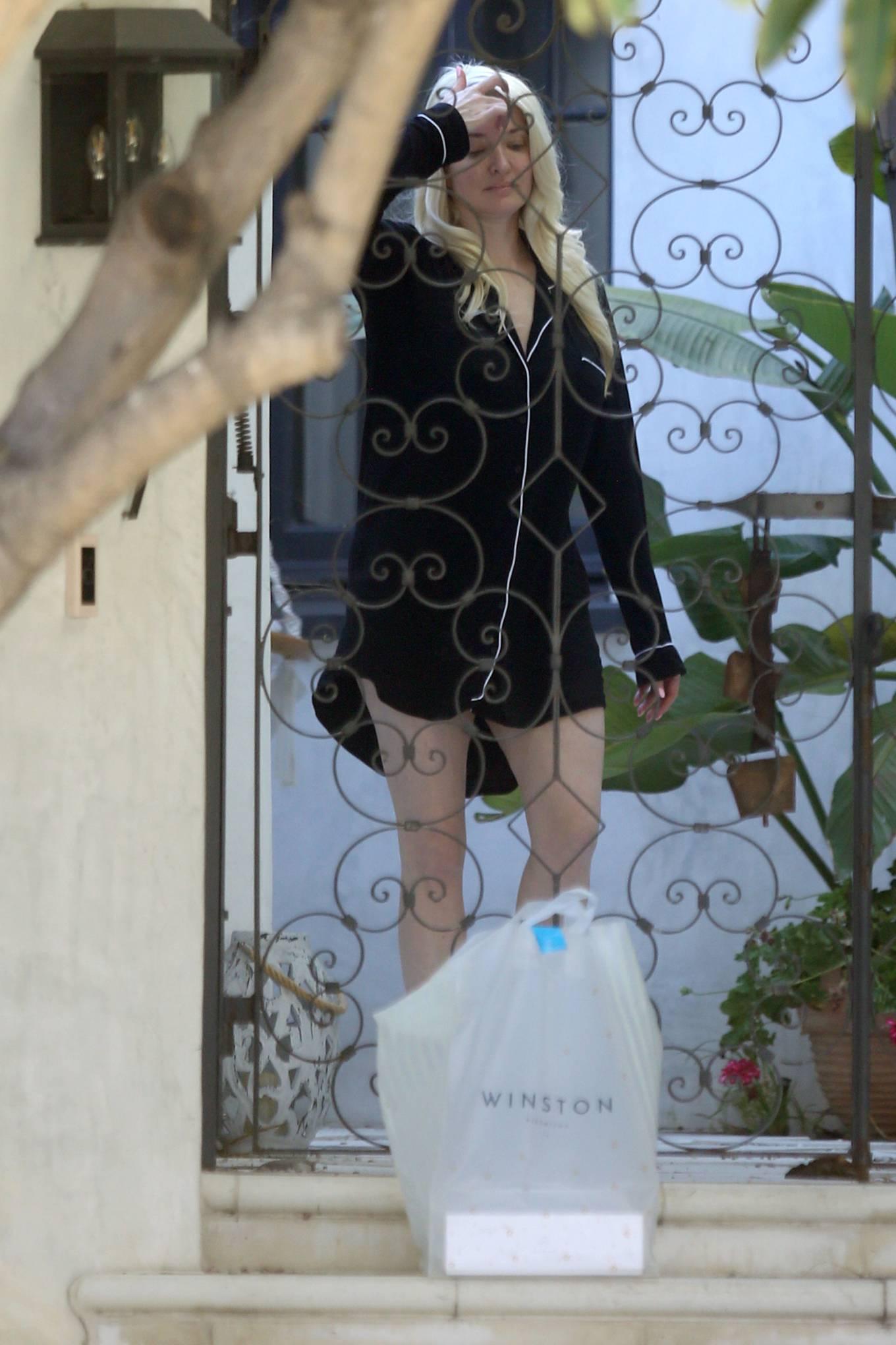 Erika Jayne 2021 : Erika Jayne – In a short nightshirt at her house in Los Angeles-22
