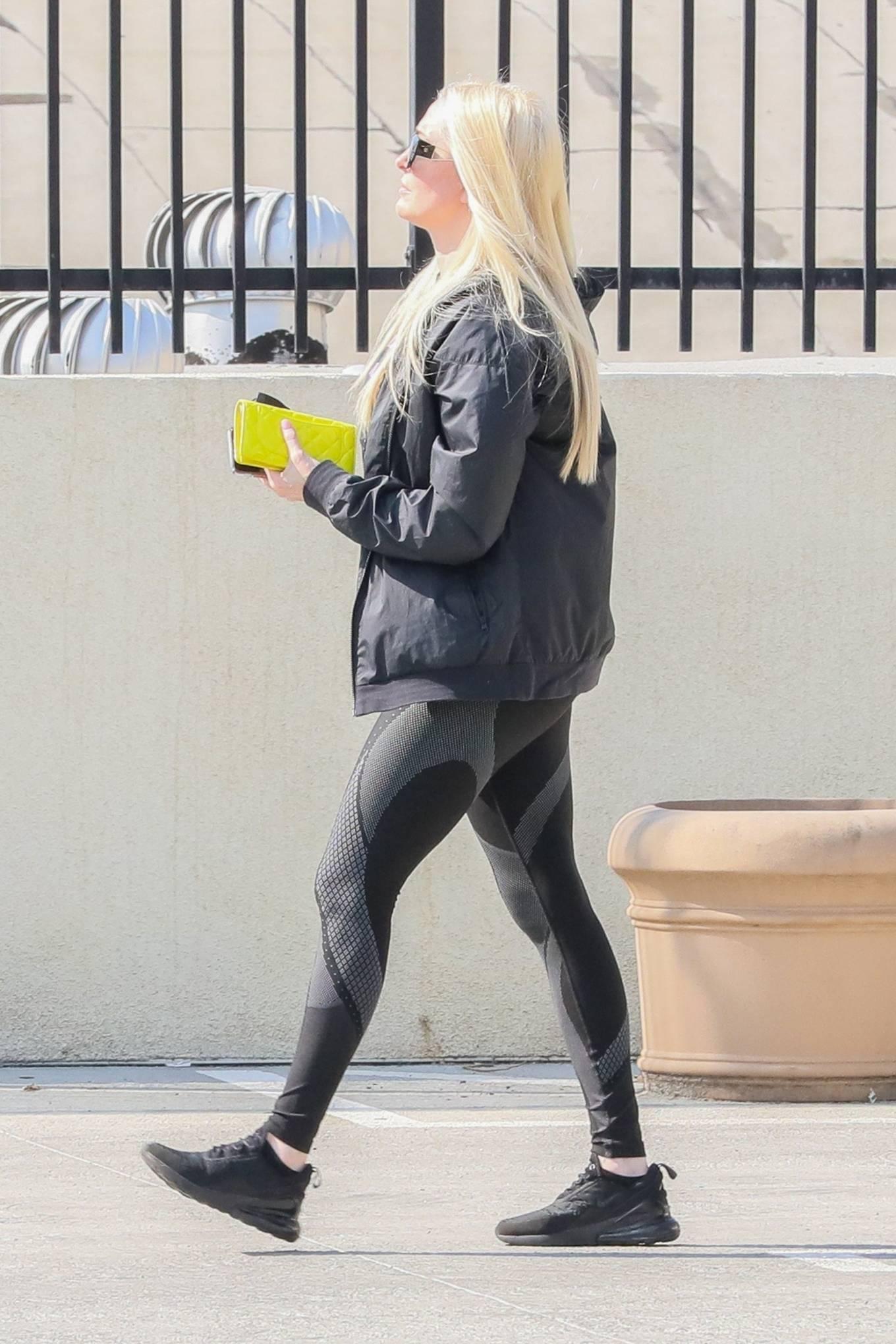 Erika Jayne - In leggings and a black windbreaker in Los Angeles