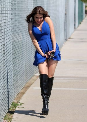 Erika Jordan in Blue Mini Dress in Los Angeles