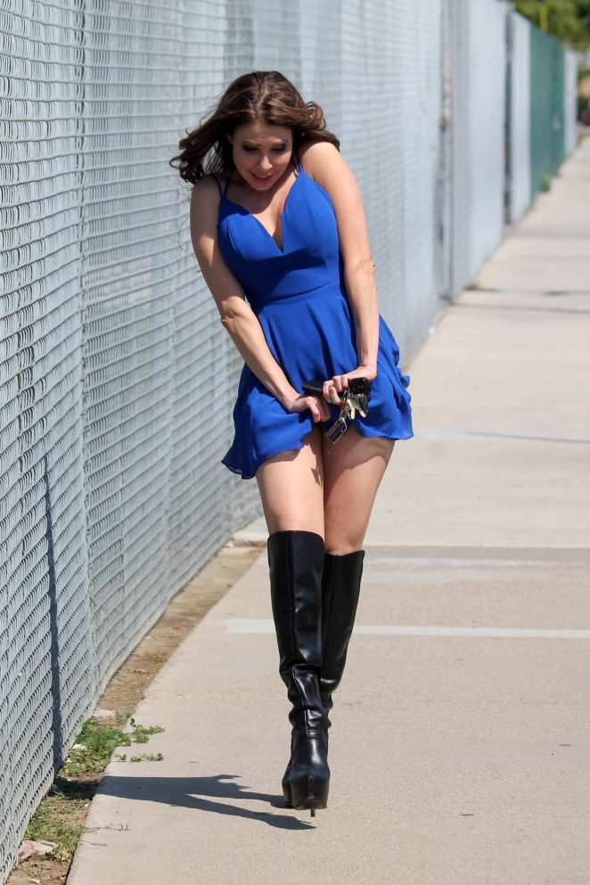 Erika Jordan in Blue Mini Dress in Los Angeles