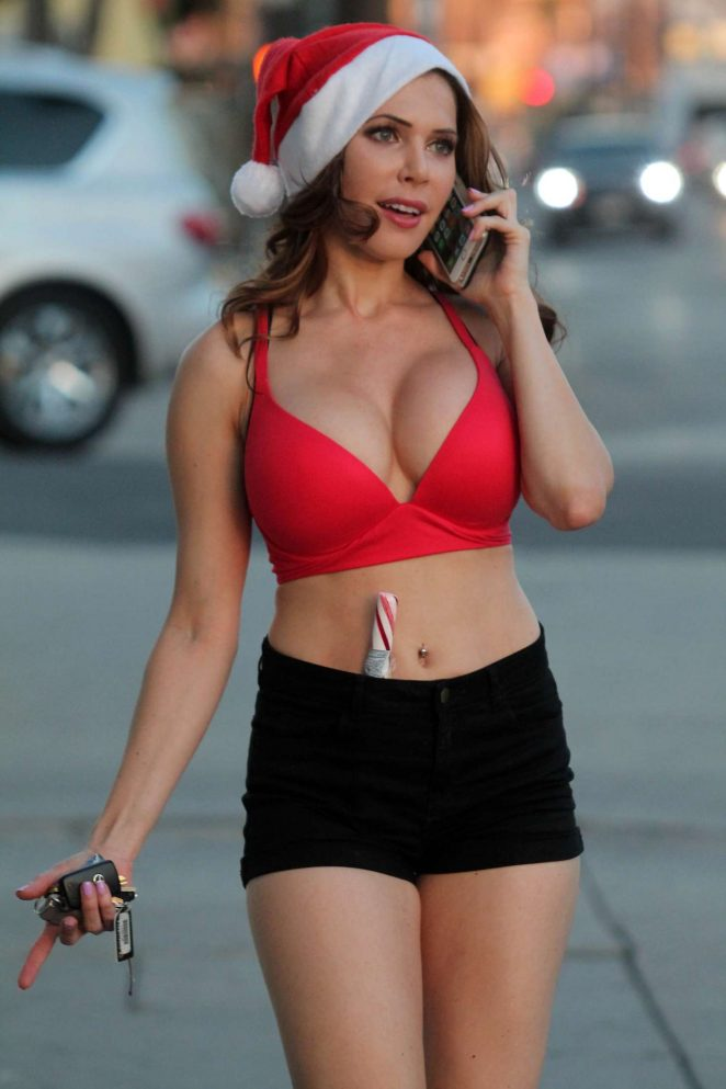 Erika Jordan Wears Santa hat out in LA