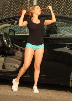 Erika Jordan in Sports Bra and Sorts working out -06