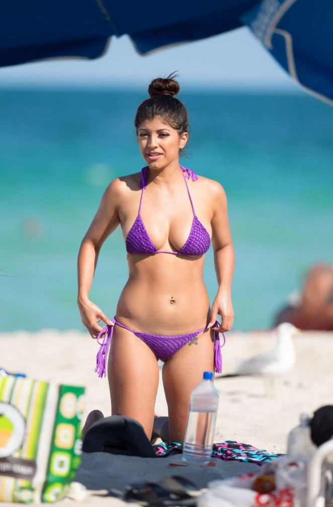 Erika Medina in Purple Bikini in Miami