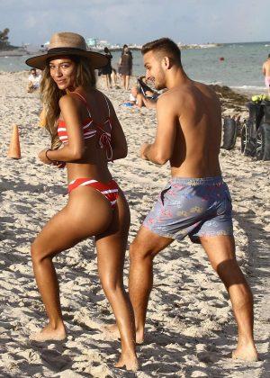 Erika Wheaton in a Red and White Bikini on the beach in Miami Pic 5 of 35