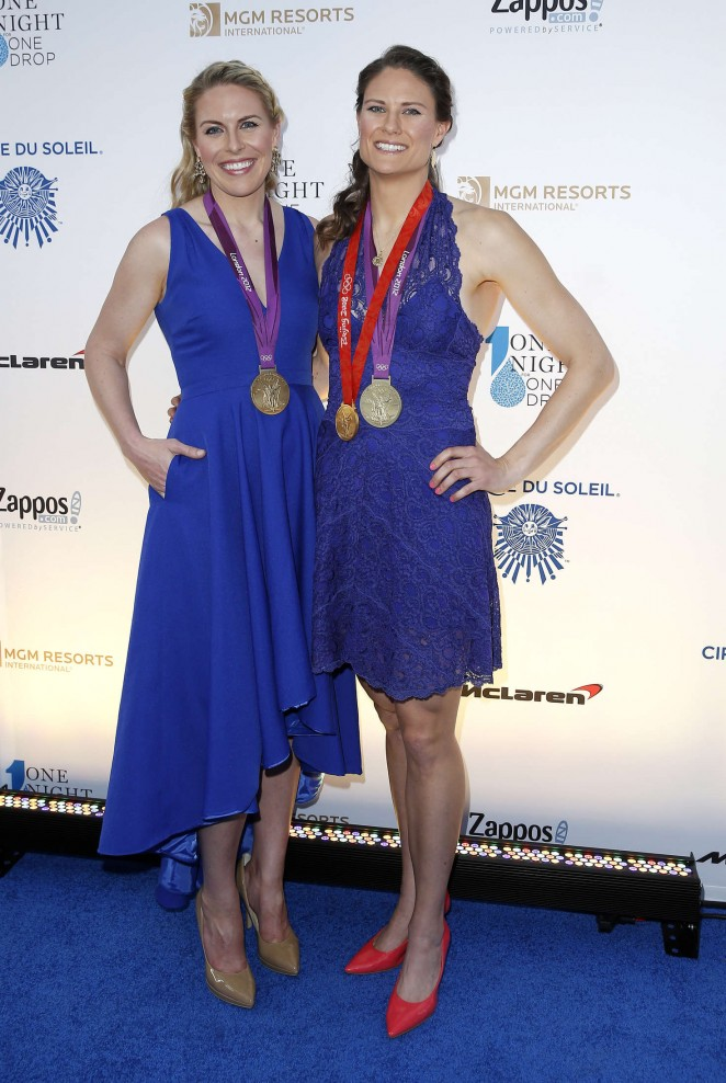 Esther Lofgren and Susan Francia - One Night for ONE DROP Blue Carpet in Las Vegas