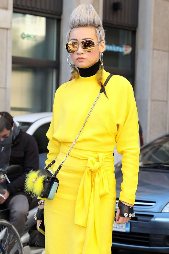 Esther Quek in Yellow Coat Out in Milan