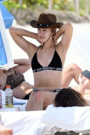 Eugenie Bouchard in Bikini and Cowboy Hat on the beach in Miami