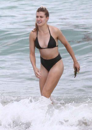 Eugenie Bouchard in Bikini on the beach in Miami