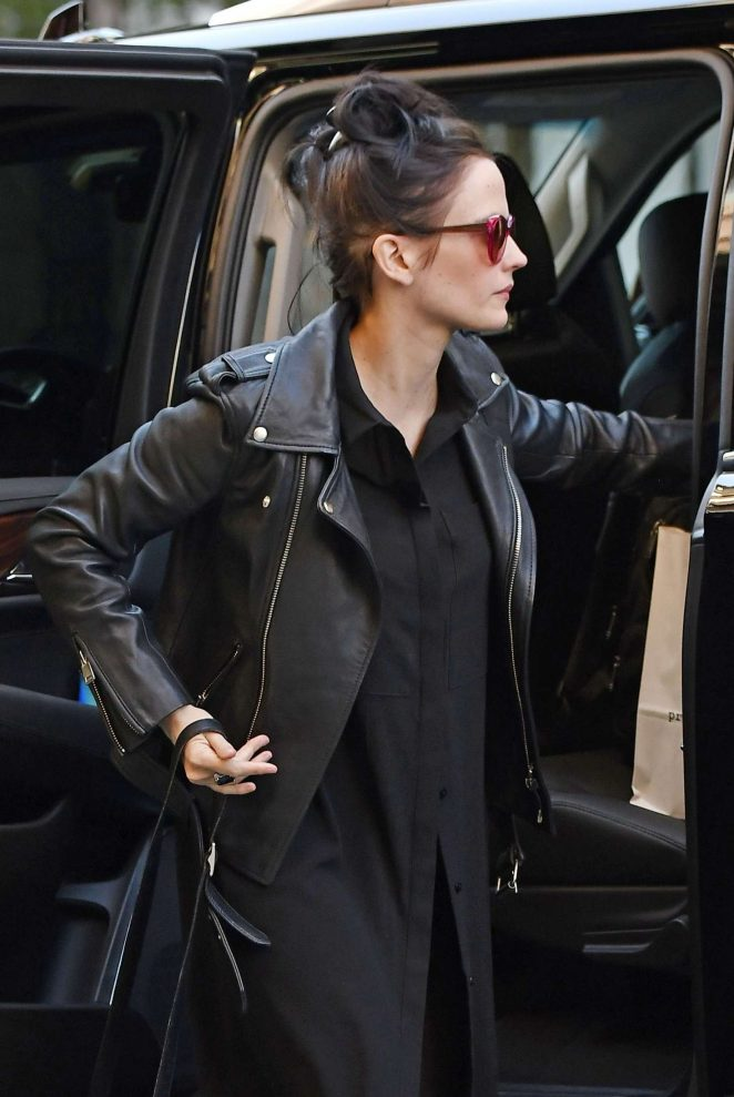 Eva Green in a motorcycle leather jacket in New York