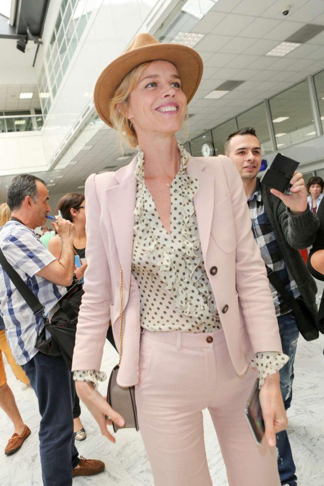 Eva Herzigova Arriving at Airport in Nice