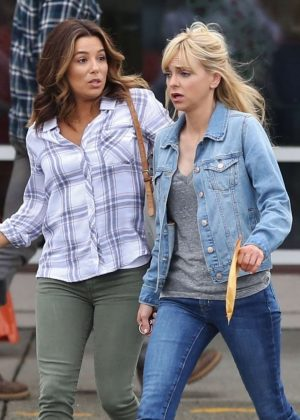 Eva Longoria and Anna Faris on the set of 'Overboard' in Vancouver
