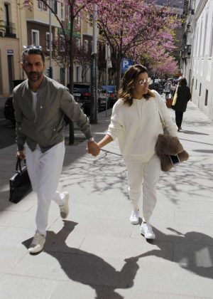 Eva Longoria and husband Jose Antonio BastonArrive at their hotel in Madrid