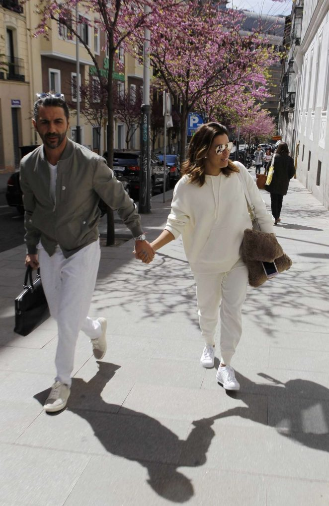 Eva Longoria and husband Jose Antonio BastonArrive at their hotel in Madrid