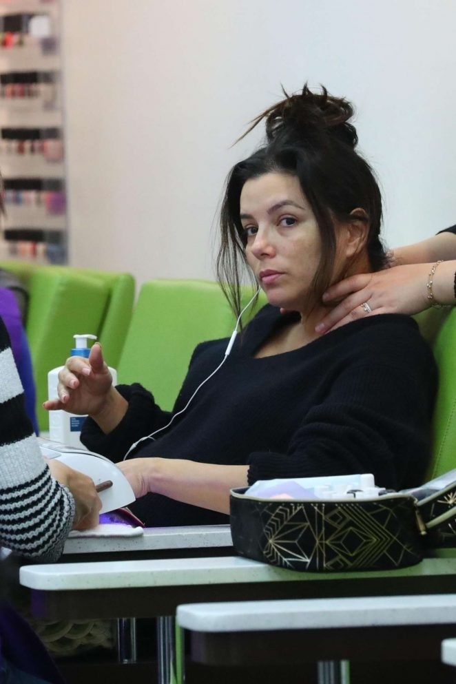 Eva Longoria at a nail spa in LA