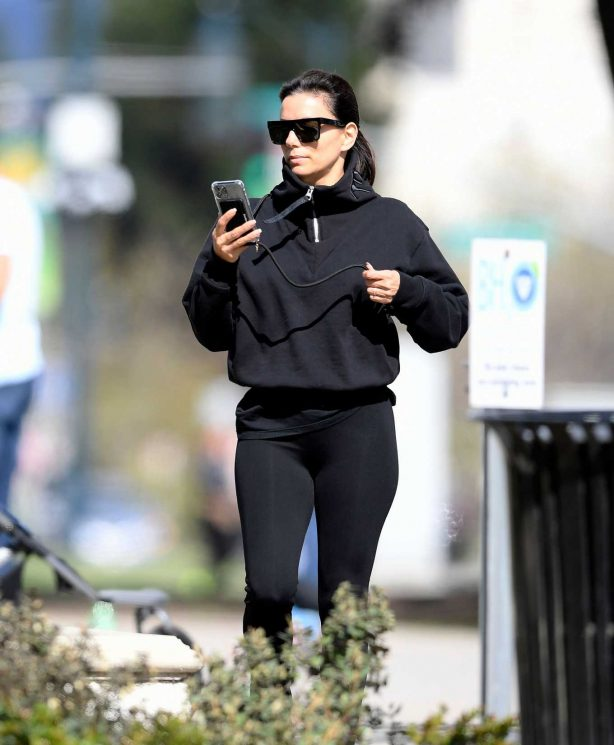 Eva Longoria at a park with family in Beverly Hills