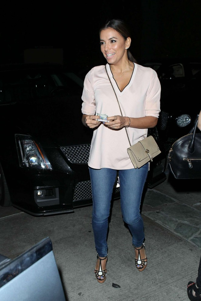 Eva Longoria in Jeans at Ago Restaurant in West Hollywood