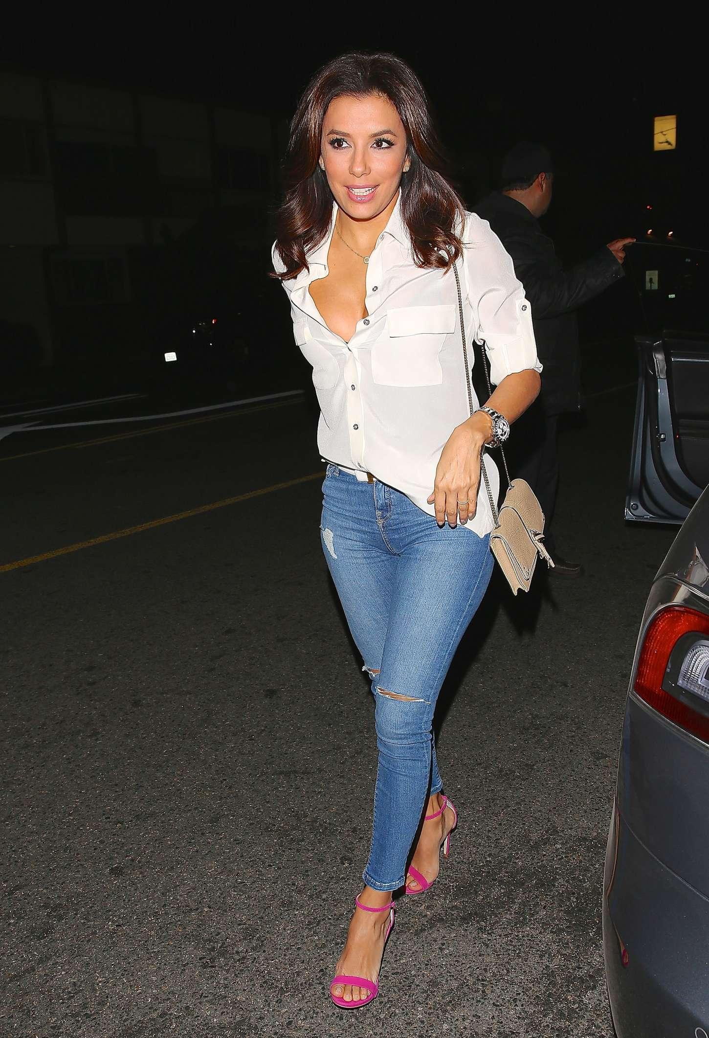 Eva Longoria in Tight Jeans at Giorgio Baldi in LA