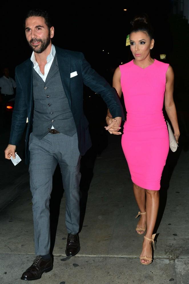 Eva Longoria in Pink Dress at Giorgio Baldi Restaurant in LA