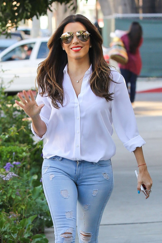 Eva Longoria in Jeans at Ken Paves Salon in West Hollywood