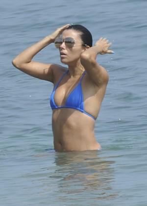 Eva Longoria in Blue Bikini -23
