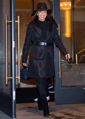 Eva Longoria in Black Coat out in NYC