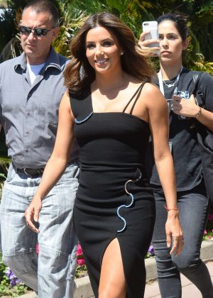 Eva Longoria in Black Dress Out in Cannes