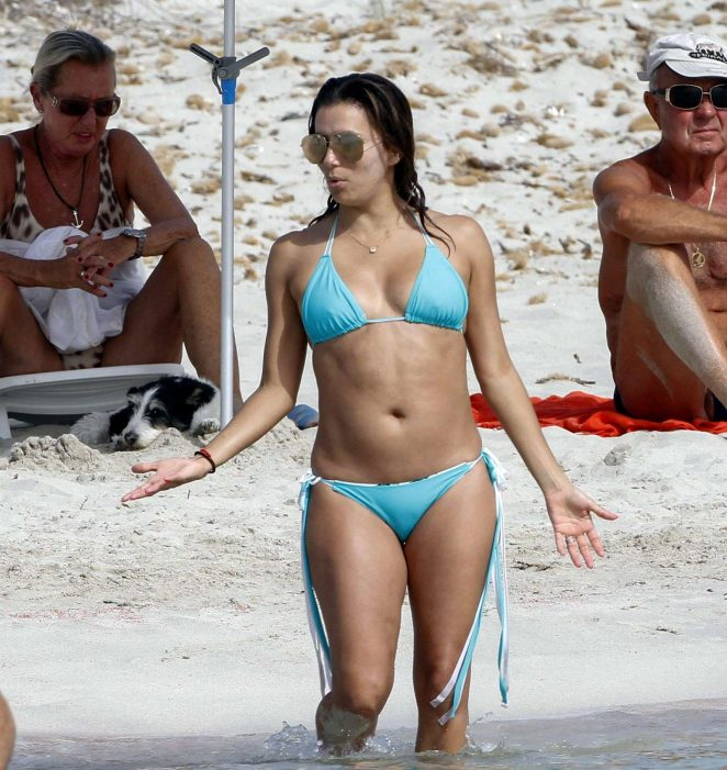 Eva Longoria in Blue Bikini on the beach in Ibiza