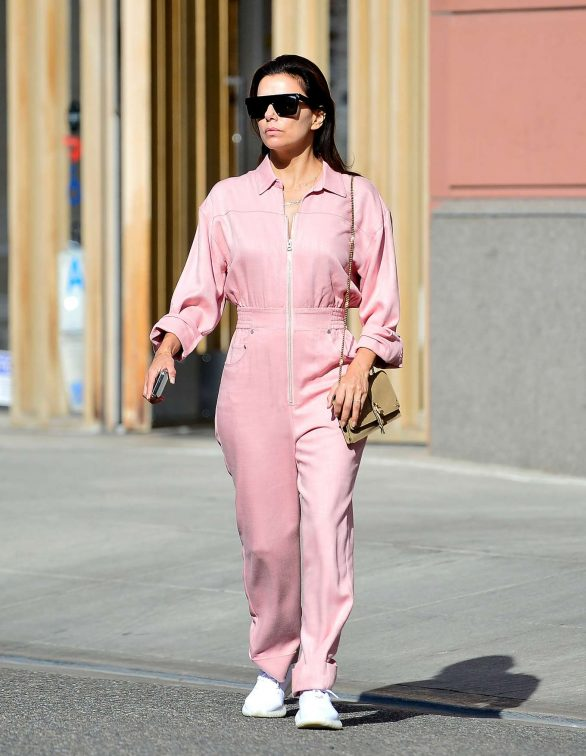 Eva Longoria in Bright Pink Jumpsuit - Out in Beverly Hills