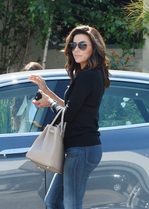 Eva Longoria in Jeans Leaving Ken Paves Salon in West Hollywood
