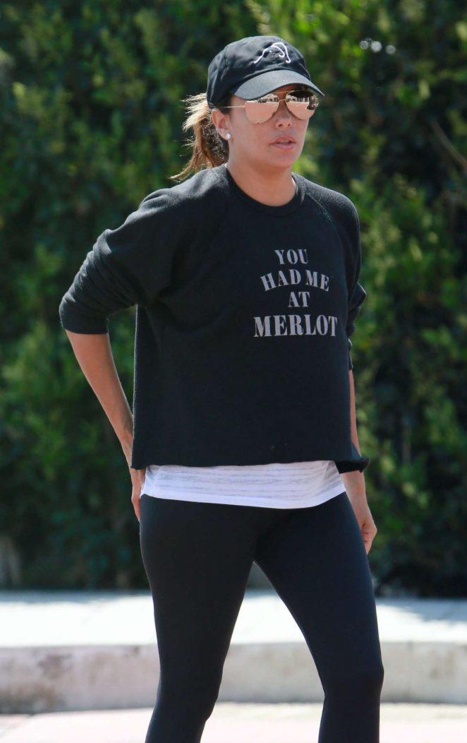 Eva Longoria in Leggings out in Malibu