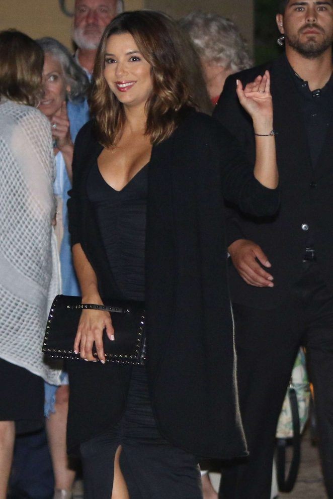 Eva Longoria in Long Black Dress at Nobu in Malibu