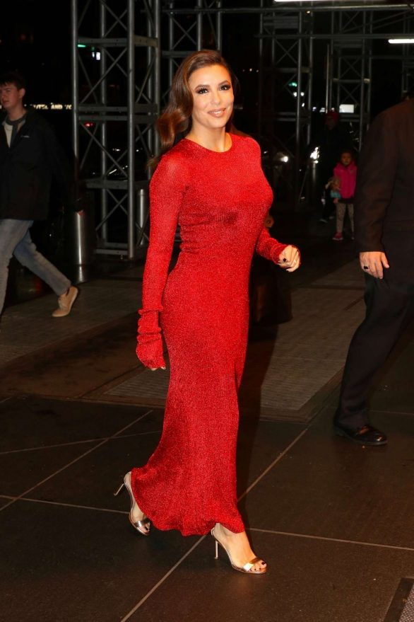 Eva Longoria in Long Red Dress - Out in NYC