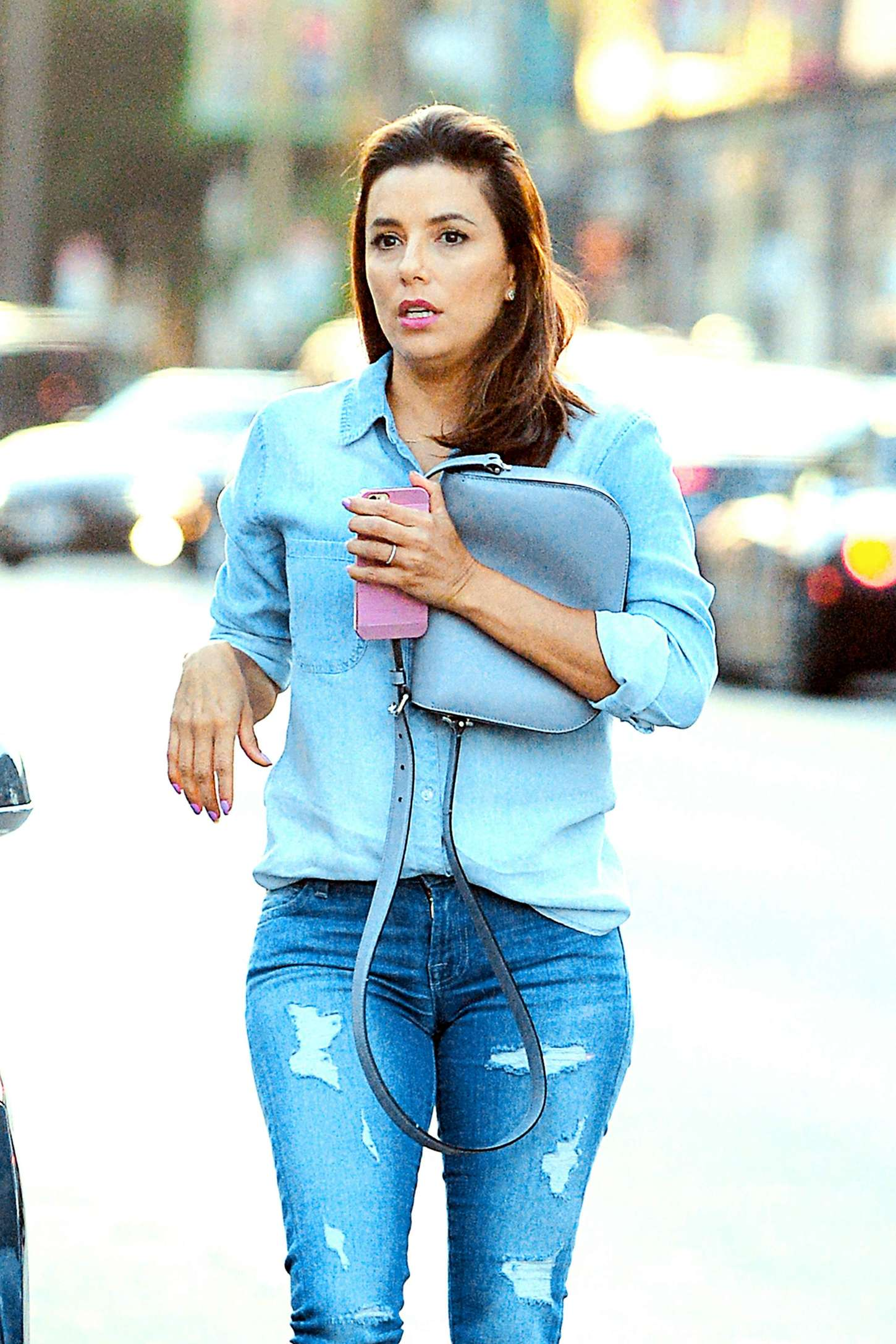 Eva Longoria in Ripped Jeans at Magnolia Restaurant in LA