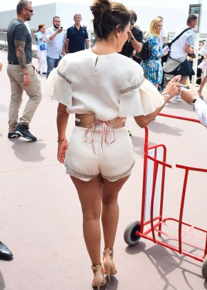 Eva Longoria in Shorts at Promenade de la Croisette in Cannes