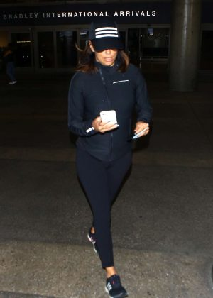 Eva Longoria in Tights at LAX airport in Los Angeles